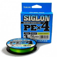 Шнур плетен. SUNLINE SIGLON PE  X4  #1.7 13,0кг 150м light green